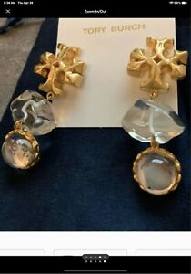 tory burch clear exagerated earrings