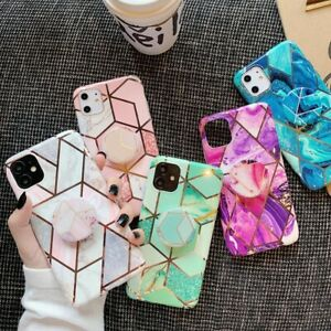 For Samsung Galaxy S20 FE A21S Note 20 Geometric Marble Stand Holder Case Cover