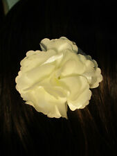 IVORY fabric flower decorative HAIR CLIP accessory
