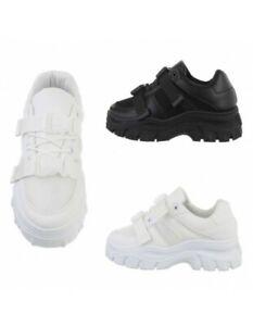 Sneakers donna sportive scarpe zeppa platform ecopelle tela stringate strappi