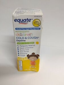 Equate Children's Cold & Cough Daytime, Dye-Free, 4 fl oz