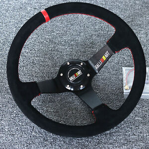 "14""Universal Ralliart Racing Red Ring Suede Leather Deep Dish Steering Wheel"