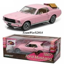 Greenlight 12966 1967 Ford Mustang Coupe - Pink with Luggage Rack & Luggage 1:18