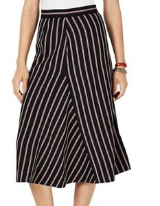 Tommy Hilfiger Women's Skirt Blue Size 8 Colonial A-Line Striped Midi $99 #301