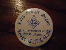 Vintage Free Masons Pin-Back / Button King George Grand Lodge Ill. Bradford 33