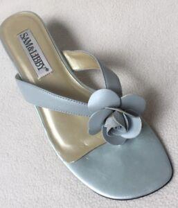 Sam & Libby Jasmine Rose Mint Leather Thong Sandals sz 8.5M