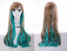 W-22 vert marron Green Brown Mix 70cm Harajuku lolita Boucles cosplay perruque wig