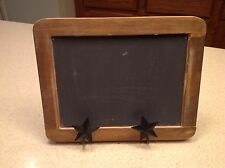 Primitive Folk Art Style Chalboard W/ Metal Star Easel Stand Very Nice Condition
