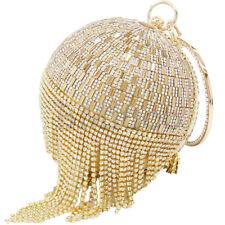 Women Gold Round Crystal Tassel Wristlets Bag Clutch Purse Evening Party Handbag