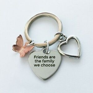 """""""Friends are the family we choose"""" Inspirational Quote - Bag Charm - Keyring"""