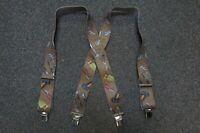"Mens Suspenders X Style 1 1/2""-2"" HTGY 2PINS CLIP, BELT LOOP Snaps.USA Made"