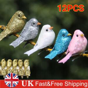 12X Clip-on Mini Fake Birds Christmas Tree Ornament Garden Decor Bird Festival