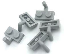 Lego 5 New Light Bluish Grey Plates Modified 1 x 2 with Arm Up Horizontal Arm