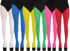 Ladies Womens Coloured Fashion Opaque Tights Pantyhose 6 Bright Solid Colours