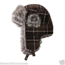 Urban Pipeline Trapper Hat With Faux Fur Brim ~ Brown Plaid ~ NWT MSRP $28.00