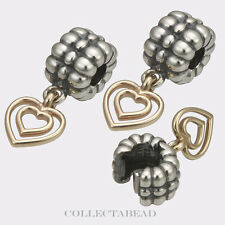 Authentic Pandora Silver &14K Gold Heart of Hearts Clips (2) 790987