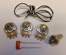 Jazz Bass Guitar Wiring Kit CTS 250K Pots Orange Drop .047uf Capacitor Fender