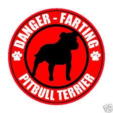 """FARTING PITBULL TERRIER FART 5"""" DOG STICKER"""