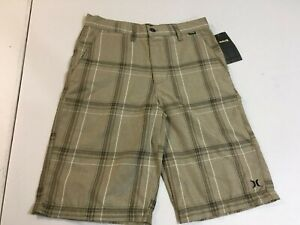 Youth Boys Hurley Khaki Plaid Brown Shorts