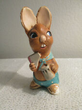 Vintage Pendelfin Easter Figurine Muncher Stonecraft Bunny Eating And Drinking