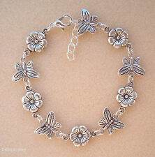 Pretty Butterflies and Flowers Charm Chain Bracelet in Gift Bag