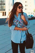 b2c30f710e Zara Blue floral Embroidered Poplin Shirt Blouse Top ref. 7521   244  044