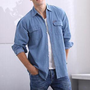 Men Denim Long Sleeve Shirts Blue Cargo Tops Lapel Blouse Pockets Workwear Retro