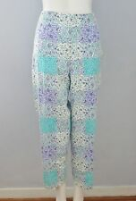 TALBOTS Size 12 Purple Floral Side Zipper Floral Capri Pants (Made in U.S.A.)