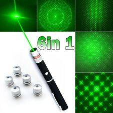 Military 6 in1 100Mile 532nm Green Laser Pointer Pen Lazer Beam Light+5*Star Cap