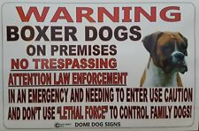 """Metal Warning Boxer Dogs For Fence ,Beware Of Dog 8""""x12"""""""