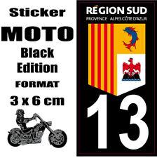 Sticker style Immatriculation Plaque MOTO black NOIR Département REGION SUD 13