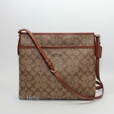 New COACH F34938 Signature File Bag Crossbody Handbag Khaki Saddle $225.00