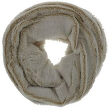 Gold Medal Women's Luxurious Faux Fur Infinty Scarf (Beige & White)