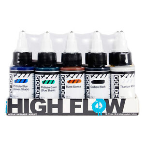 Golden High Flow Acrylic Ink / Liquid Fluid Paint Opaque Colour Set 10 x 30ml