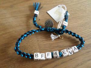 New Venessa Arizaga Blue & Black BFF4EVA Textile & Ceramic Bracelet  RRP: £45