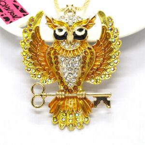 Hot Betsey Johnson Cute Orange Enamel Crystal Owl Key Women Sweater Necklace