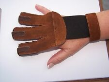 "Trad. Leather Archery open palm style Glove-BRN-$5.39 Delivered-Mens ""Small"""