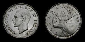 Canada 1940 Silver Twenty-Five 25 Cent Piece King George VI AU-58