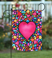 NEW Toland - Kaleidoscope Heart - Colorful Multicolor Valentine Love Garden Flag
