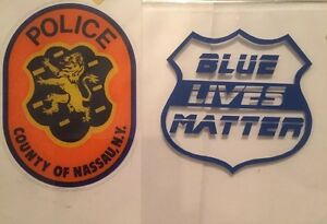 Nassau County Police NY OFFICIAL IN/WINDOW Faces/OUT Decal +Blue Lives Sticker