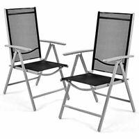 Set of 2 Patio Folding Chairs Adjustable Reclining Indoor Outdoor Garden Pool