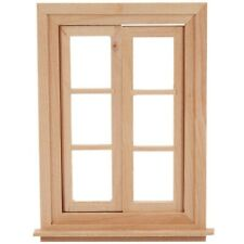 1:12 Casa de Muñecas Miniatura Ventana Doble Marco de 6 Paneles de Vidrio y C3L6