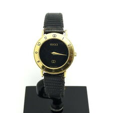 Ladies Swiss GUCCI 3000 L Black Dial Watch 18k Gold Toned Roman Numeral Case