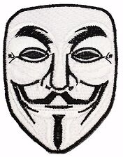 White Mask V For Vendetta Anonymous Freedom Forever Logo Iron On Patches P63