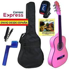 Pack Guitarra Clasica Española Rosa Tamaño de Adulto 4/4 con funda y afinador