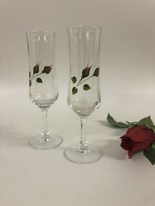 Rosebud Individually Hand Painted  Pair Of Champagne Glasses