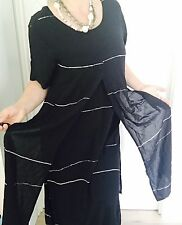 ANIMALE WOMENS DRESS MAXI FULL KENGHT BLACK EHITE VISCOSE OVERLAY SZ 2