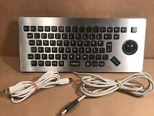 Vtg. Metal Kiosk USB Keyboard/Trackball Black Keys Stainless Rafi GB Limited