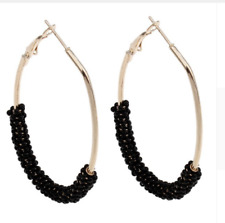 NEW LARGE STATEMENT OVAL HOOP LEVERBACK BEADED EARRINGS MANY COLOURS UK SELLER