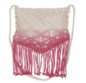 Macrame Cross Body Bag Tie Dye Cream Pink Cotton Lined Tassels Boho Festival